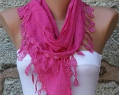 Hot Pink Scarf Fall Easter Cotton Scarf Mom Cowl Bridesmaid Gift Bridal Accessories Gift Ideas For Her Women's  Fashion Accessories