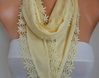 Light Yellow Pashmina Scarf, Cowl, Necklace, Bridesmaid Gift,Gift Ideas For Her, Women Fashion Accessories