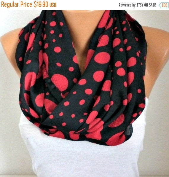 Black & Red Polka Dot Infinity Scarf, Valentine's Day Gift Cowl Scarf Gift Ideas For Her,Women Fashion Accessories Women Scarves