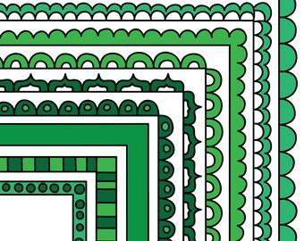 Green Digital Frames, Stackable Doodle Borders, Instant Digital Download Commercial Use Clipart