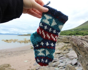 Knit Christmas Stocking Pattern for Tiny Stocking Ornament Fair Isle with detailed instruction Santa Sock PDF how to knit your own