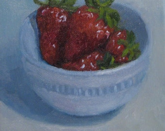 Sale Red Stawberries Original Oil Painting Modern Impressionist White Bowl Still Life Painterly Realism 6x6 Inch Canvas Jennifer Boswell
