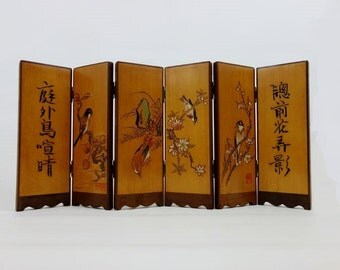 Vintage Wooden Miniature Chinese Screen with 6 Panels with Carved Calligraphy, Flowers and Birds