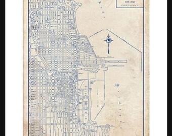 Chicago Map 1944 Street Map Vintage Blueprint  Grunge Print Poster