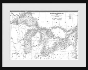 Great Lakes Map - Map Art - Lake Superior, Lake Michigan, Lake Huron, Lake Erie - White