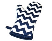 Oven Mitt - Navy and White Chevron - Nautical- Gift Under 20 - Gift for Foodie