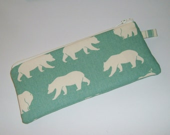 White Bears on Green Pencil Pouch - Stocking Stuffer - Gift Under 15
