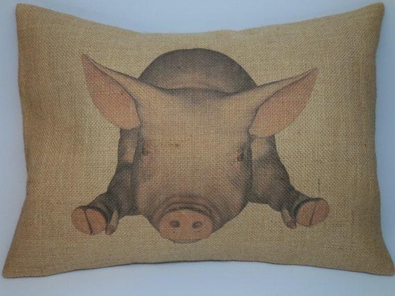 Shabby Chic Burlap Pillows : Pig Burlap Pillow Shabby Chic Decor by PolkadotApplePillows