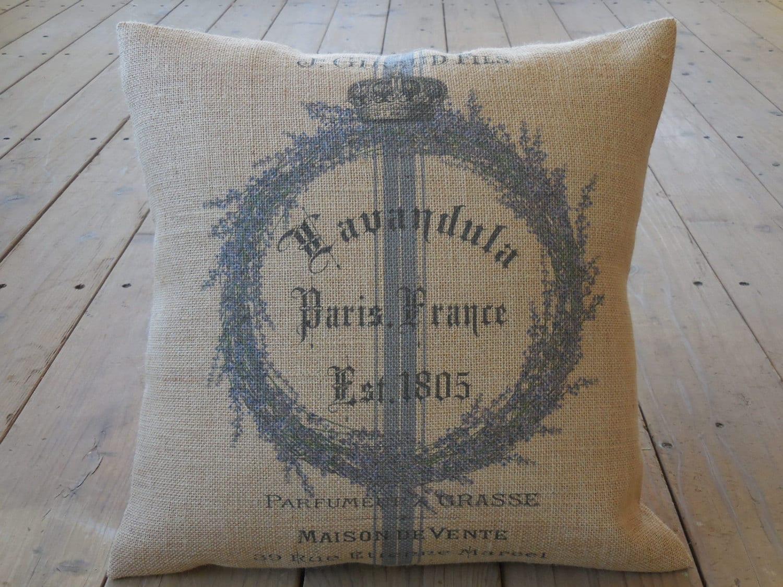 Shabby Chic Burlap Pillows : Lavender wreath Burlap Pillow shabby chic French Country