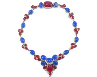 Vintage HATTIE CARNEGIE Maison Gripoix Poured Glass Bib Necklace AMAZING Mogul Jewels of India!