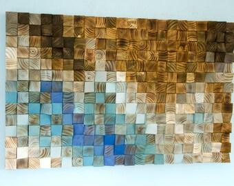 "Wood wall Art, wood mosaic, geometric art, 24"" x 36"" ""Fighting River"""