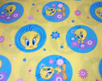 Tweety Fabric  Favorite Bird Yellow Background Very Nice New By The Fat Quarter BTFQ