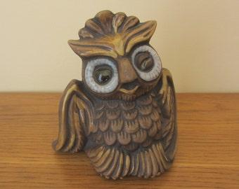 Winking brown ceramic owl.  Mid Century winking owl.