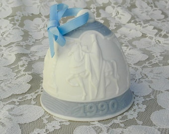 3 Wise Men, Lladro Christmas Bell, blue and white, 1990, collectible bell