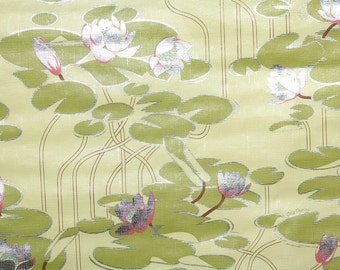 Retro Wallpaper by the Yard 70s Vintage Mylar Wallpaper - 1970s Pink and Silver Water Lily on Green Textured Mylar