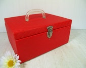 Retro Red Nylon Fabric Quilted Overnight Train Case Sewing Box Lingerie Basket - Vintage Red Rectangular Carry All Multipurpose Crafter Tote