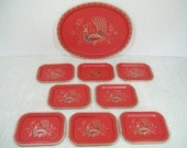 Retro Salmon Red Large Oval Tray with Gold & Black Painted Peacock Design 8 Matching Mini Metal Trays - Vintage Mid Century 9 Piece Barware