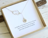 Sterling Silver Cloud and Compass Lariat Necklace...  Graduation Sentiment Card