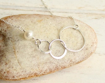 Sterling Silver Three Eternity Ring Necklace