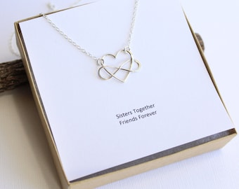 Sterling Silver Infinity Heart Necklace with Sisters Sentiment Card