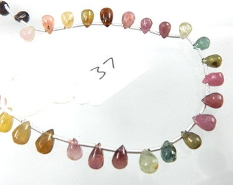 Multi Tourmaline Briolette Smooth Tear Drops AAA Quality Size 4 MM To 5MM Approx 8'' 100% Natural Gemstone Wholesale Price