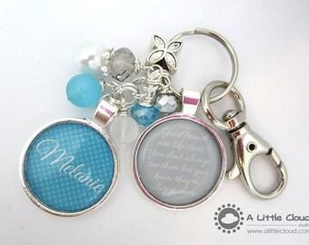 BestFriend Keychain Gift, Personalized, BFF, girlfriend, sister, aunt, bling, beaded