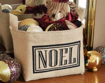 SALE! Noel Burlap Holiday Display Basket