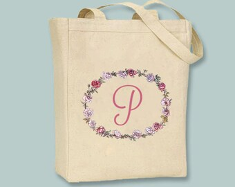 Vintage Rose Floral Wreath with Script Monogram initial on Canvas Tote -- Selection of  sizes available