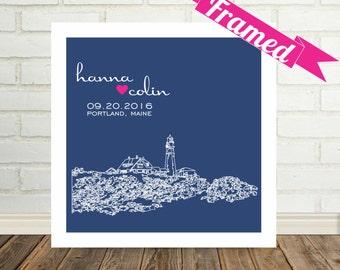 Personalized Wedding Gift City Skyline Custom FRAMED ART Print - Any City Available Wedding Gift Personalized Engagement Gift Personalized