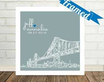 Wedding Gift Personalized City Skyline Art Print FRAMED Any City Available Unique Wedding Gift Engagement Gift City Skyline Poster