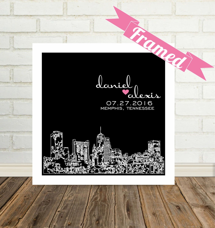 First anniversary gift paper city skyline framed art any