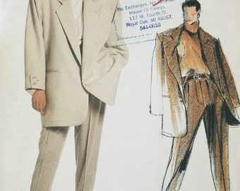 1980's Vogue Individualist Misses'  Claude Montana Loose Fitting Jacket and Pants Suit Sewing Pattern 1597 Size 8 UNCUT