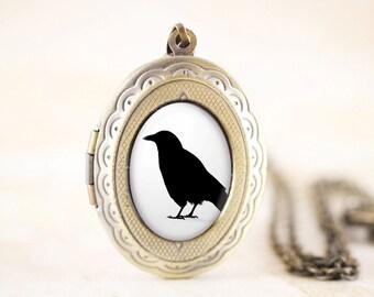 Bronze Crow Locket - Bronze Bird Jewelry Locket, Crow Silhouette Jewelry, Crow Bird Silhouette Locket, Crow Jewelry, Bird Locket Pendant