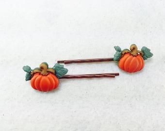 Autumn Hair Pins, Fall Bobby Pins, Fall Hair Pins, Girls Pumkpkin Patch Hair Pins, Halloween Barette's, Pumpkin Hair Pins