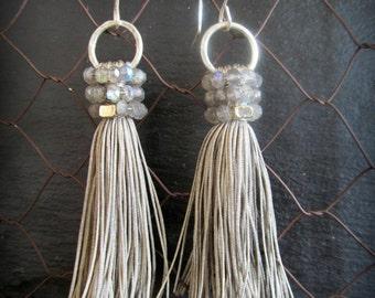 Silver Grey Gemstone Cluster Tassel Earrings - labradorite - Sterling Silver Earwire - Boho Gypsy Style