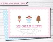 Ice Cream Summer Birthday Party Digital Invitation