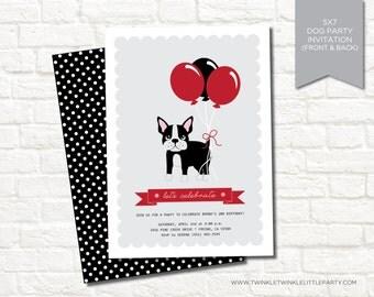 Boston Terrier Dog Birthday Party Digital Invitation