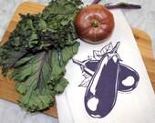 Eggplant Flour Sack Tea Towel - Hand Screen Printed - Eco Friendly Gift