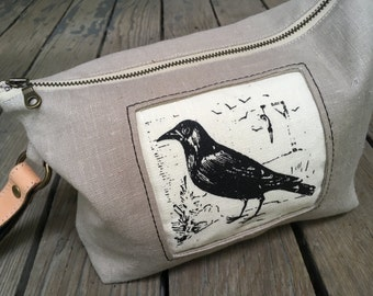 Raven Wristlet, Linen, Knitting Project Bag, Tool Bag, Made to Order