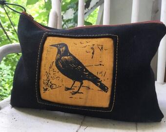 Raven Zipper Bag, Canvas Pouch