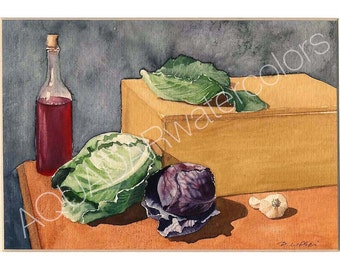 READY TO SHIP Original Watercolor Painting Still life with cabbage Fruit Wall Art Home Decor Kitchen Decor Decorative Art Framed