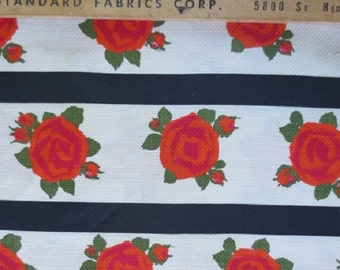 """1950-60's Deadstock Fabric/Yardage // Horizontal Stripes With Roses // Light Texture...35"""" wide X 4 feet long"""