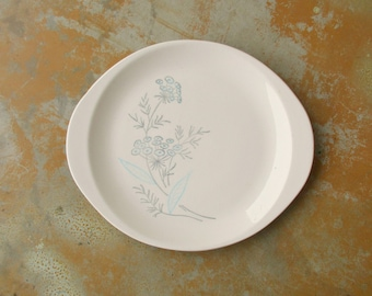 Mid Century Platter, Vintage Royal-Stetson Royal Maytime Plate, Blue Gray Queen Anne's Lace Flower Serving Tray