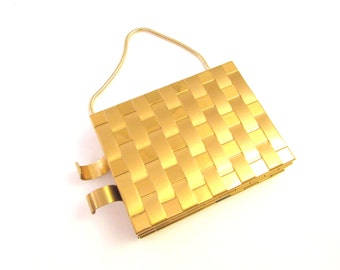 SALE Vintage Gold Tone Carryall with Chain Handle - Double Sided Metal Compact / Handbag