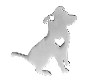2 Stainless Steel PIT BULL TERRIER Charm Pendants, Pitbull Charms, Dog Shape Charms, Design Metal Stamping Blanks 31x29mm, 15 gauge, chs2482