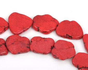 """RED HOWLITE Slab Shape Gemstone Beads, magnesite, about 1"""" to 1-1/2"""", full strand, about 12-13 beads, how0462"""
