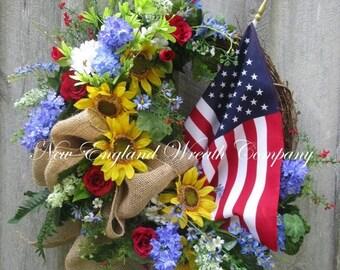 FALL SALE Americana Wreath, Patriotic Wreath, Fourth of July Wreath, Sunflower Wreath, Elegant Patriotic Wreath, Country Cottage, American F