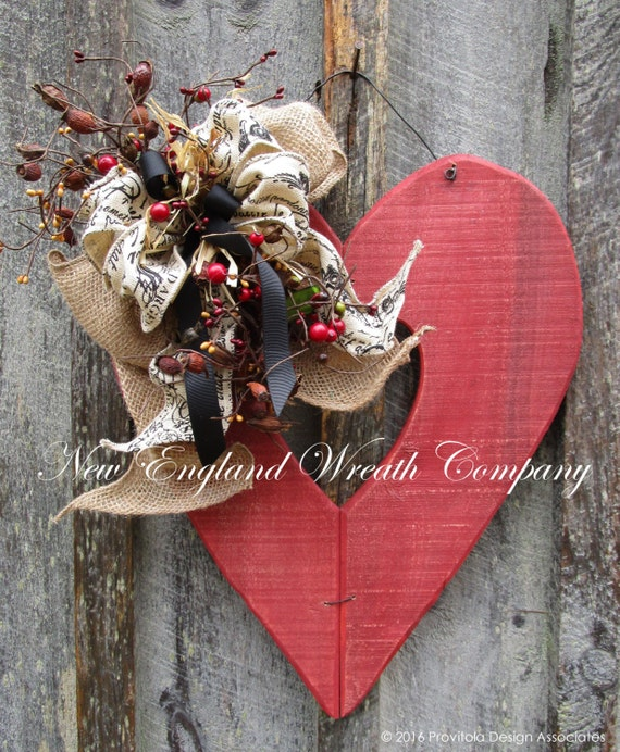 Valentine Wreath Primitive Valentine Wreath Heart Wreath