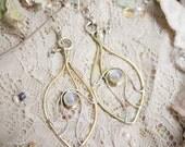 Elvian Leaf Dew Moonstone Earrings