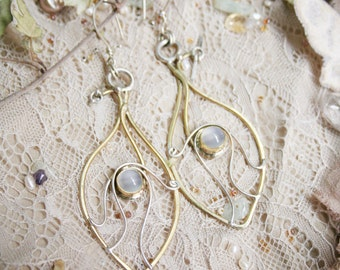 Elvian Leaf Dew Moonstone Earrings